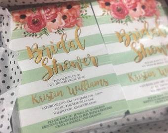 Mint Striped Bridal Shower Invite, Floral Bridal Shower, Elegant Gold Glitter and Mint Bridal Shower Invitation