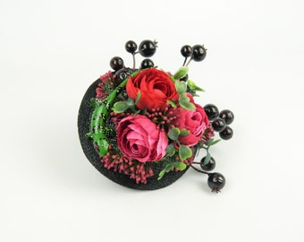 Fascinator Headpiece Cocktail Hat with Silk Flowers, Berries, Spotted Lizard in Bright Colours Alternative Fashion Statement Hair Accessory
