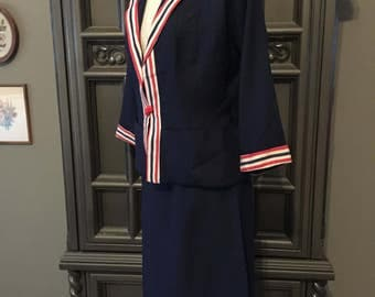 40s Hello Sailor Nautical Flair Dress Suit