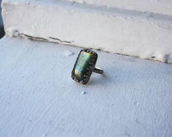 Labradorite Crown Ring   Size 7.5   7 1/2