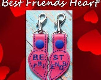 Best Friends Heart Keychain luggage backpack tag