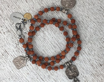 Triple Goddess Rudraksha Mala Prayer Beads w 3 Antique Indian Silver Amulets and Labradorite - Wrap Bracelet or Necklace