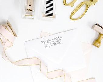 Custom return address rubber stamp - modern calligraphy handwritten style script - wood handle mounted or self inking - TP001