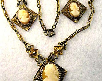 Cameo Cannetille Vintage Necklace, Earrings, 800 Silver Gold Filigree, Shell Cameo Portraits