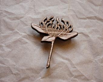 Waratah Wildflower Brooch, Wooden Wildflower Brooch, Australian Wildflower Brooch, Made in Australia