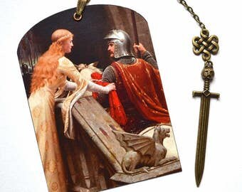 Mini Bookmark with Bronze Pendant - Art - Lady and Knight - Handmade