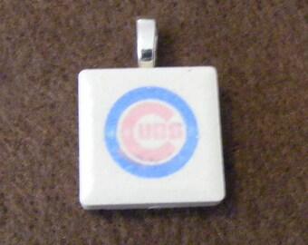 Chicago Cubs - Laser engraved Ceramic Tile Pendant