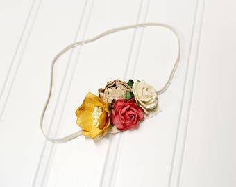 Summertime Solstice - beautiful dainty flower headband in mustard yellow, raspberry pink, beige, and cream (RTS)