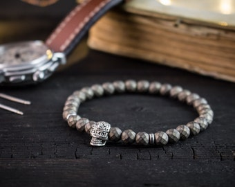 6mm - Bronze plated faceted hematite beaded bracelet with silver skull bead, gray bracelet, mens bracelet, womens bracelet