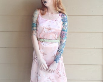 Gorgeous Baby Pink Silky Floral Dragons Oriental Mini Tank Dress // Women's size Small S Medium M