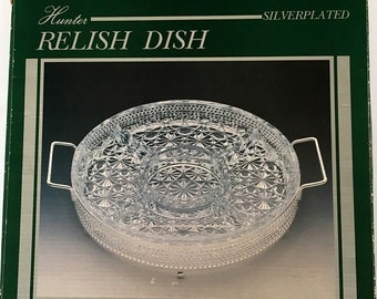 Vintage Daisy Button Divided Glass Relish Platter, silver plated gold tone caddy with relish dish, buffet vegetable tray, serving glassware
