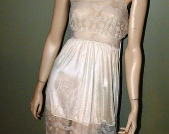 Vintage Sheer Ivory & Lace Nightgown - circa 1970 - from DustyMillerAntiques