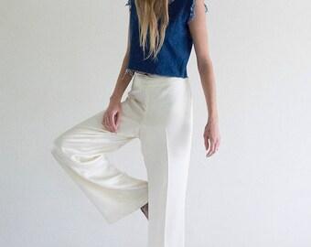 White Silk Wide Leg Pant