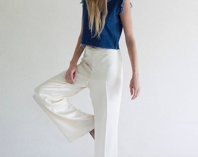 White Silk Wide Leg Pant