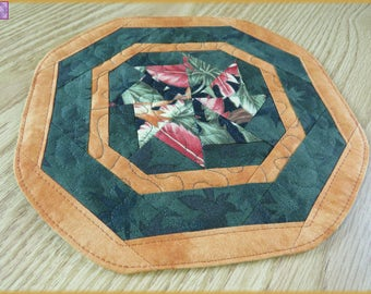 Quilted Mug Rug Candle Mat Autumn Leaf 352