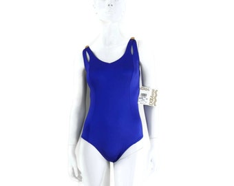 NOS DeWeese Swimsuit 1 pc Purple Tank Style Bathing Suit Vintage Swimwear First Mate Old Store Dead Stock sz14 #215