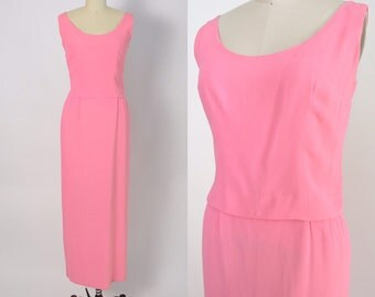 Vintage 1960s Dress 60s Pink Crepe Evening Gown