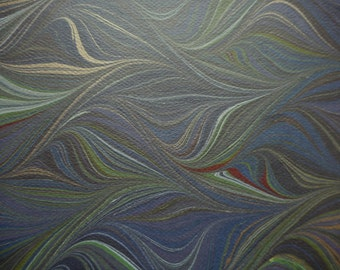 """Heavy Hand Marbled Paper - Black, burgundy, gold & more: """"Darkness"""". For framing, limp bindings, greeting cards, paper arts, bookbinding"""