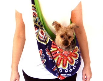 Blue and Green Fleece Pet Sling/ Pet Pouch/ Carrier: Royal Vine