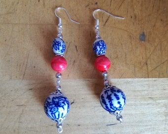 Blue/white red ceramic earrings/chinese ceramic/handmade earrings/elegant earrings/blue earrings/boho and chic earrings/flower earrings/boho