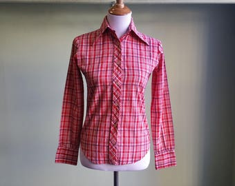 1970s Picnic Plaid Shirt - Long Sleeve Tucci Button Front Top - Small