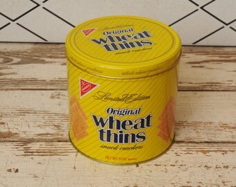 Vintage Wheat Thins Limited Edition Tin 1980s with Lid Yellow Navy