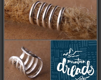 Sterling Silver Ring Cuff DREADLOCK BEADS 7mm/0.28in Hole Dread Loc Hair Beads