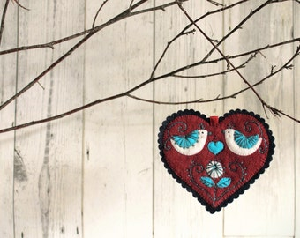 Love Birds - Valentines Day Ornament in hand cut and embroidered felt