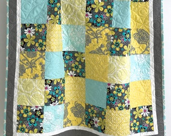 Adorable Patchwork Baby Girl Quilt with Floral Prints Shades of Aqua Grey Yellow Citron