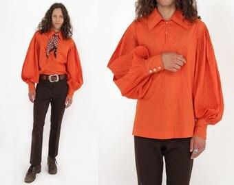 Vtg 60s Balloon Poet Sleeve Shirt M/L
