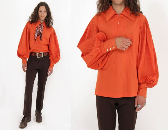Vtg 60s Balloon Poet Sleeve Shirt M/L