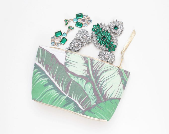Cosmetic purse-make up bag- toiletry travel bag-simple leather and fabric pouch-green bag- palm leaves print-tropic pouch-palm pouch /JADE 6