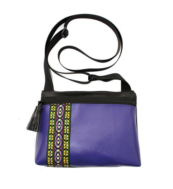 Purple vinyl, vintage trim, tassel, boxy cross body, vegan leather, zipper top