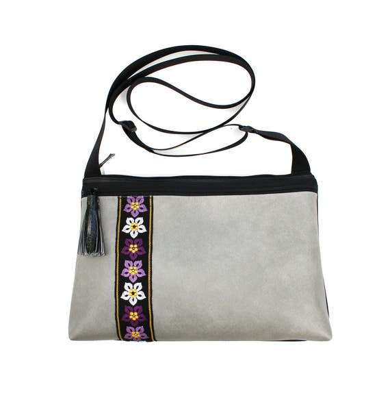Grey vinyl, vintage trim, purple flowers, boho, medium crossbody, vegan leather, zipper top, tassel
