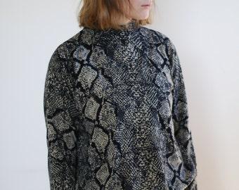 snake skin pattern turtleneck sweater