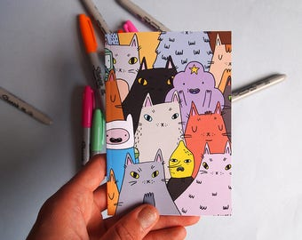 Adventure Time Cats notebook - Cat notebook - I like cats - A6 notebook - small notebook - cat journal - cats - Sketchbook - Fan art