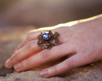 "Adjustable Filigree Flower Antique Brass Ring ""Crocus"" Victorian Estate Jewelry"