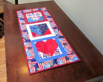 Fourth of July Patriotic Hearts Door Decoration, Wall Hanging, Table Topper,  Wreath, Red White Blue, Summer