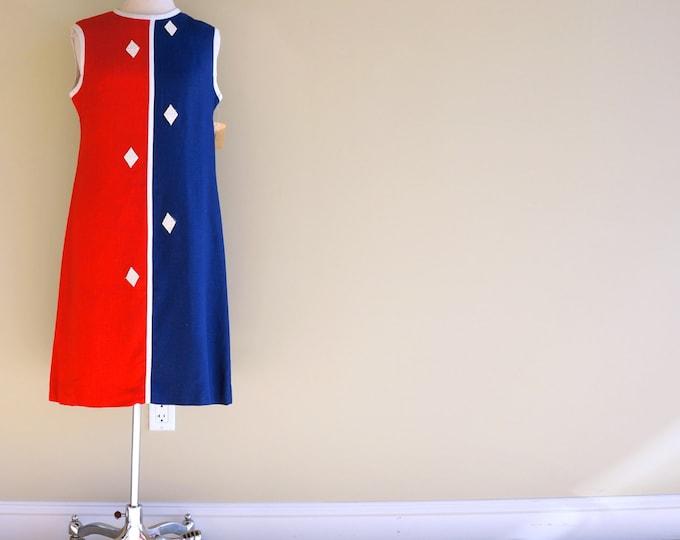 Red White & Blue Dress MEDIUM 1960s Colorblock Linen Shift Dress Mod Diamond Appliques Sleeveless Day Dress Patriotic Vintage Deadstock NWTs
