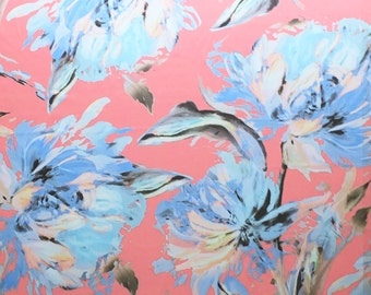 Coral Peach and Cornflower Blue Printed Light Satin Dress Fabric -Abstract floral artist style - Sold by the metre