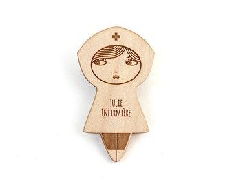 Personalized nurse brooch - doll pin - custom jewelry - name jewellery - hospital - graphic matriochka - lasercut maple wood