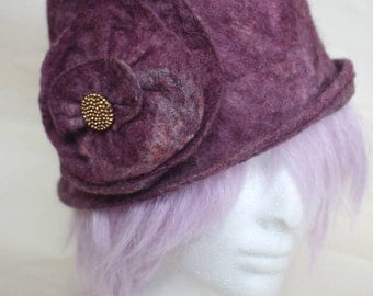 Handmade felted cloche with beaded flower embellishment