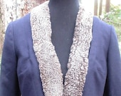 Small...Pendleton Blue Wool Womens Jacket with Detatchable Faux Fur Collar/The Portland Collection Wool Women's Blazer/