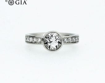 GIA-certificated diamond solitaire engagement ring made from 950 platinum, diamond engagement ring, solitaire, bezel, modern, unique rings