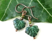 Leaf dangle earrings - Green ivy leaves Picasso Czech glass beads & copper