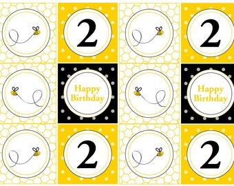 Bumble Bee Theme Cupcake Toppers/Tags