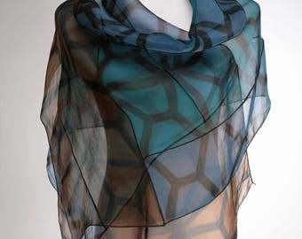 Silk Evening Wrap Hand Dyed Silk Organza in Blue, Teal, Brown, Shawl