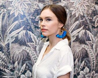 Blue statement earrings for women in leather and silk / Fan earrings for women