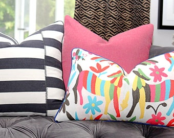 Otomi Pillow Cover - Colorful Embroidered Mexican Home Decor - Donkey Version - Red Pink Yellow Aqua Blue Green Black and Off White Cushion