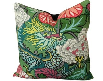 Schumacher Chiang Mai Dragon Pillow Cover in Jade Green